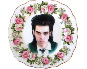 Vintage - Illustrated - Nick Cave Plate - Wall Display - Altered Plate - Antique - Upcycled - Art