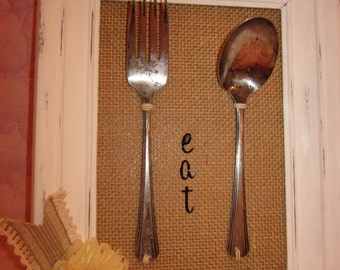 Wonderful Farm House Country Silverware On Burlap