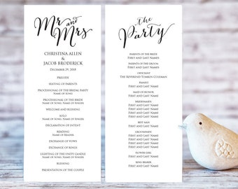 Wedding Program Templates, Ceremony Program Template, DIY Wedding, Wedding Program Printable Template, Editable Program Template