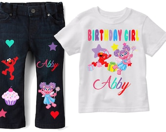 Sesame Street Outfit -  Sesame Street Birthday - Girl's Birthday Outfit - Abby Cadabby Set - Girl's Elmo Birthday Set - Girl's Elmo Birthday