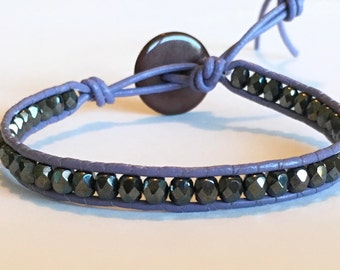 Black and purple Bohemian Wrap bracelet czech glass beads and leather cord