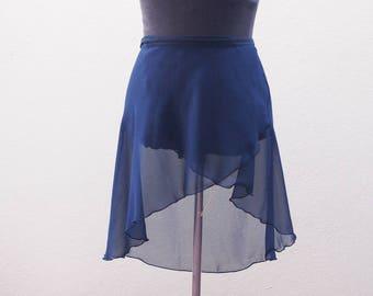 SIZE M - Navy blue ballet skirt - Ballet wrap skirt - Sarong - Dance Skirt - Ballet crossover skirt - Chiffon ballet skirt - Navy ballet