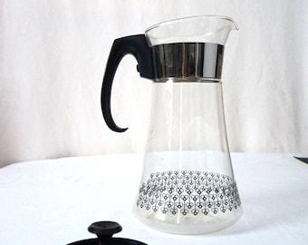 Mod Pyrex Vintage Glass Coffee Maker Black White and Chrome