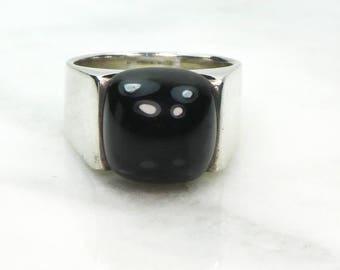 Vintage Modernist Sterling Silver Ring Sterling Silver Black Onyx Ring Vintage Israel Silver Ring Vintage Sterling Ring Black Stone Ring