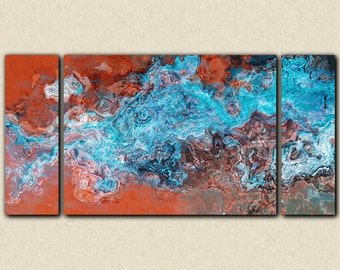 """Large triptych abstract art stretched canvas print, 30x60 to 40x78 in turquoise and copper, from abstract painting """"Southwest Spirit"""""""