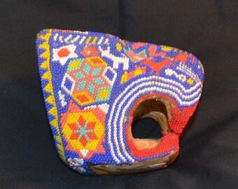 Early Beaded Jaguar Head, Huichol People