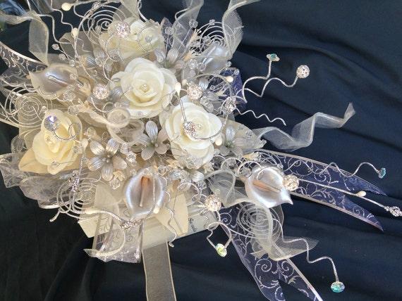Ramos De 15 Anos: Ivory Silver Plated Bridal Bouquet/ Ramo De Novia/ Quinceañera
