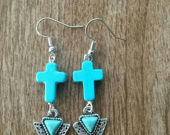 Turquoise cross and arrow earrings