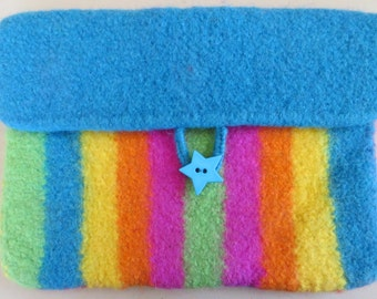 I-Pad Case - Hand knitted and Felted, Funky and Bright.