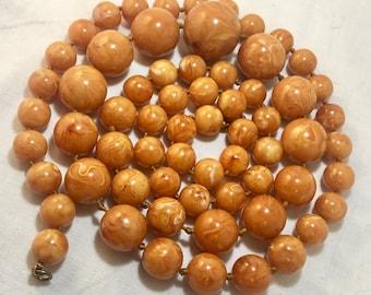 "Vintage Marbled Butterscotch/Egg Yolk Bakelite 39"" Bead Necklace"
