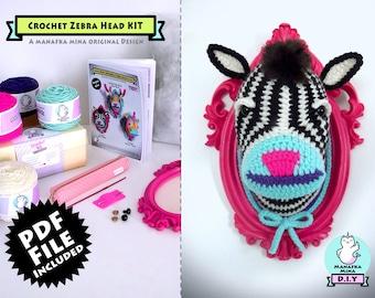 CROCHET KIT, Zebra Head, DIY, Faux Zebra Head, Crochet Taxidermy, Crochet Zebra, Amigurumi Zebra, Zebra in a Vintage Style Frame