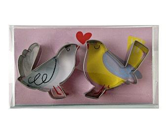 Love Birds Cookie Cutter Set by Meri Meri, Engagement Wedding Valentine Anniversary Kissing, Bluebird of Happiness, Bird Party Decor