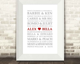 Famous Lovers Print - Modern Version, Famous Couples Print, Custom Wedding Print, Personalised Love Print, Valentines Print