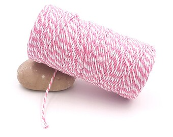 100 m spool Style Baker's Twine pink and white Twine