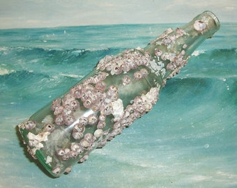 ANTIQUE, Vintage Aqua OCEAN Found Bottle Encrusted with BARNACLES