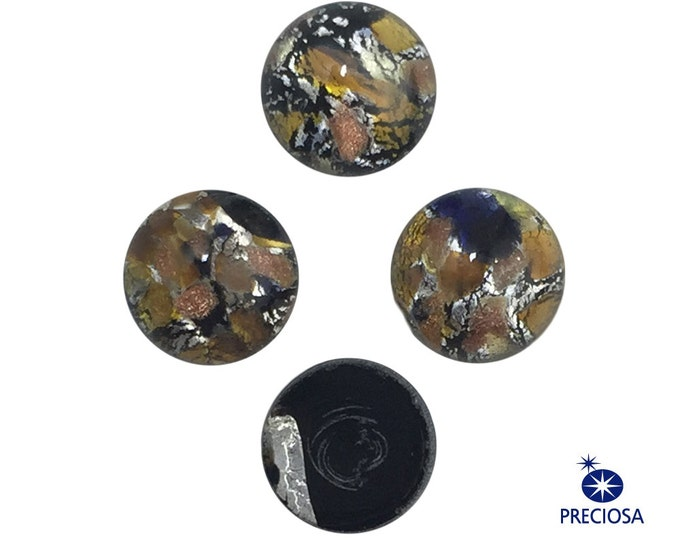 Preciosa Handmade Medium Black Opal with Gold and Silver Glass Cabochons 7mm (4) cab3003N