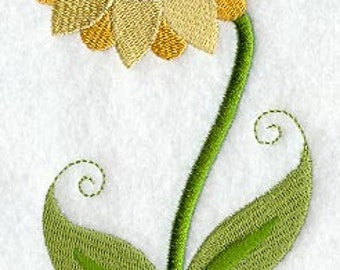 Sunflower with Swirly Stem Embroidered Flour Sack Hand/Dish Towel