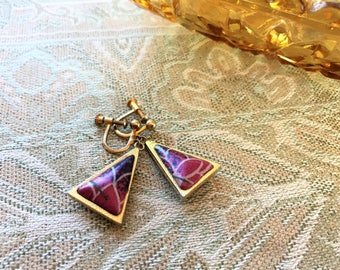 Vintage jewelry. Pink triangle earrings. Screw back earrings. Gold earrings. Pink, purple stone earrings. Dangle earrings. Gift for women.