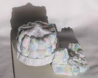 Baby Hat and Booties, Premie Newborn Set Knit Hat Baby Girl Baby Boy Knitted Hat Rainbow Pastels, White