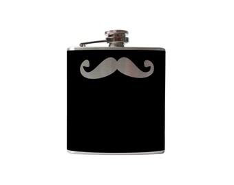 Mustache 01 Flask- alcohol, liquor, booze, wedding, bridal party, hip pocket- Personalized Custom - YOU pick COLOR, SIZE