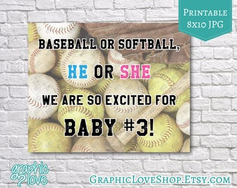 Printable 8x10 Baseball or Softball Pregnancy Announcement | JPG File, Instant Download