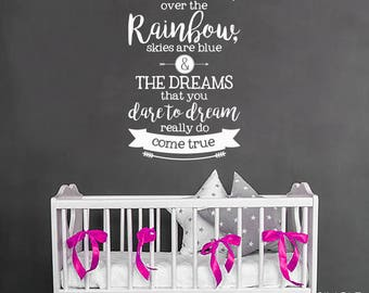 Nursery Over The Rainbow Wall Decal Quote - Vinyl Wall Text Sticker Art Custom Home Decor