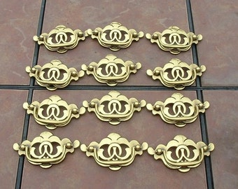 Set of 12 Solid Brass Drawer Handles