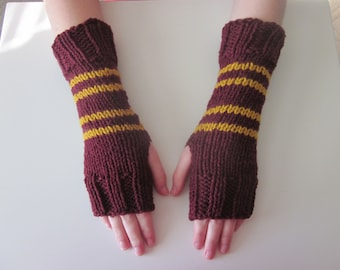Wizard House colors Hand Knit Fingerless Mittens/Gloves - Wrist Warmers- One Size Fits AllRed-Gold
