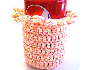 Peach Parfait Twists Crocheted Can Cover With Ruffle