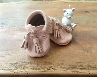Geniune leather handmade baby moccs  size 18