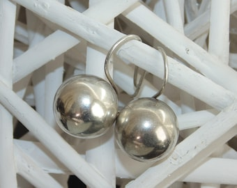 """SE3 Vintage Estate Sterling Silver Puffy 1/2"""" Wide Ball Orb Beads Fixed Pierced Earrings 1"""" long 925 Jewelry Jewellery For Her"""