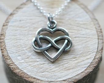 Infinity heart necklace, sterling silver heart pendant, grad gift, eternity heart, infinity necklace, romantic gift for her, forever