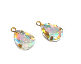 4 pendants crystal drop 15 x 10 mm sand opal
