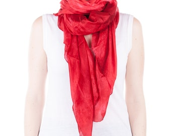 Bright red silk scarf /  magnificent fire red shawl   /  large red  silk veil / Hand dyed / 100% habotai silk / scarves for women