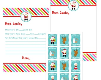 Santa Letter Pack, Santa and Cookies Party, Santa Party, Christmas Party, Instant Download, Printable,Digital