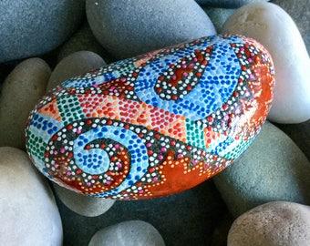 happy snake charmer/ painted rocks/ painted stones/ paperweights/ dotted rocks/ boho art/ hippie art/ roller coaster/ swirl art/ rock art