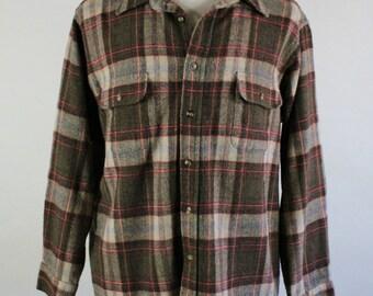 Mens Grunge Shirt. Brown Red Check. Wool Blend Shirt. Winter Outdoors Lumberjack Shirt. Vintage. Size Xl. GOGOVINTAGE. FREE SHIPPING