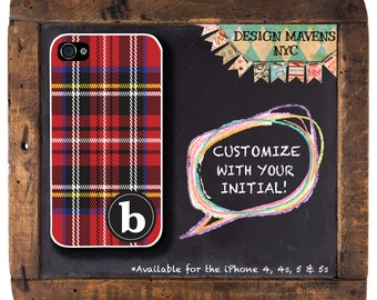 Red Tartan iPhone Case, Monogram iPhone Case, Personalized Plaid iPhone, iPhone 5, 5s, 5c, iPhone 6, 6s, 6 Plus, SE, iPhone 7, 7 Plus