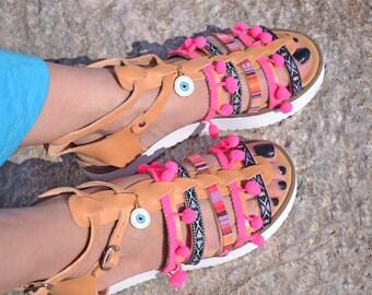 platform sandals, cork shoes, bohemian sandals, leather sandals, greek sandals, greek evil eye, hippie clothing, pom pom sandals, boho style