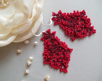 Red tatted earrings, tatting earrings, seed beads earrings, lace earrings, tatting lace accessories, gift for her, jewelry