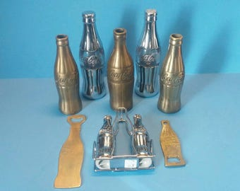Vintage Coca Cola Lot of Brass Bottles Salt and Pepper Shakers and Bottle Openers