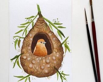 Bird nest watercolor Original painting Hand painted art Small wall decor Spring home decor Bird illustration