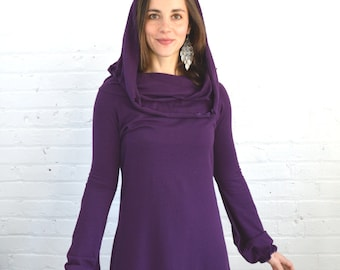 On Sale!!! Medium Cowl Neck Dress in Plum Purple
