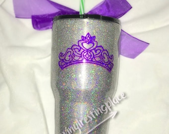 Homographic Glitter Tumbler with royal Crown