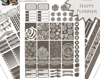 Dark Roses Planner Stickers - Happy Planner Stickers Printable - Weekly Planner - Stickers Set - Instant Download - Printable Planner - PDF