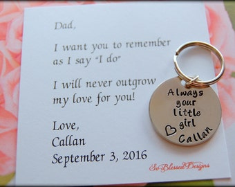 Father of the Bride gift, for DAD, Gift for Father of the Bride, ORIGINAL Father of Bride poem by So Blessed Designs, Personalized keychain,