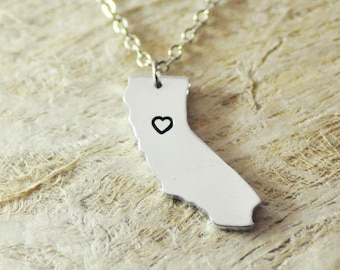 California Necklace  alloy 925 sterling silver  heart necklace Pendant State Necklace State Charm Map necklace Map Jewelry