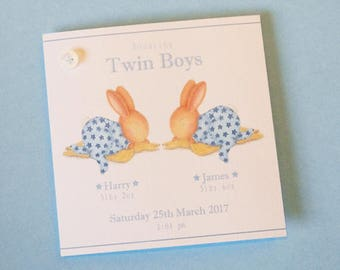 Personalised New Baby Twins Card-  Bobby Bunny and Friends Illustrated Luxury Card Range by Jennifer Keelan