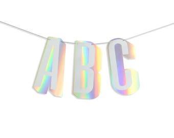 Holographic Foil Stamped Dimension Alphabet Custom Letter Banner