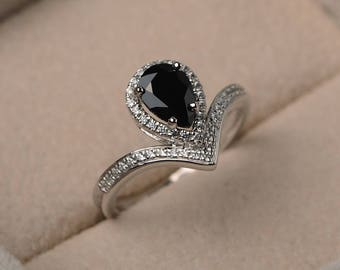 Natural black spinel ring, pear cut gemstone, sterling silver, engagement ring, black gemstone, bridal ring